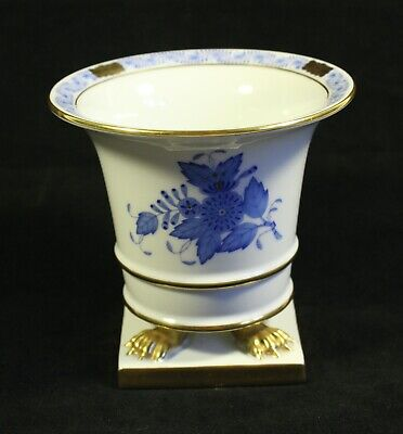 Herend Of Hungary  A-98 Chinese Empire Blue Gilded Footed Claw Vase • 117.80£
