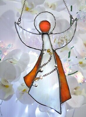 Angel Made From Stained Glass Sun Catcher Ornament Gift • 23£