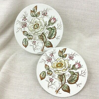 Antique Dinner Plates Old Rose Botanical Flowers John Maddock China Transferware • 38£