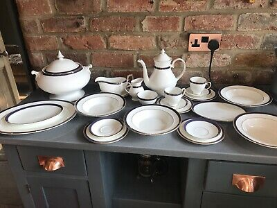 Royal Grafton Warwick Blue Dinner Service Coffee Set Soup Tureen 23 Pieces China • 75£