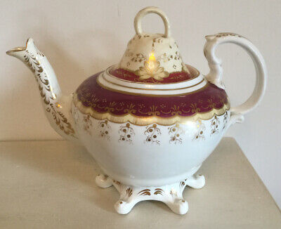 Antique Footed Teapot Burgundy, Gold & White- Rococo Style- Samuel Alcock • 25£