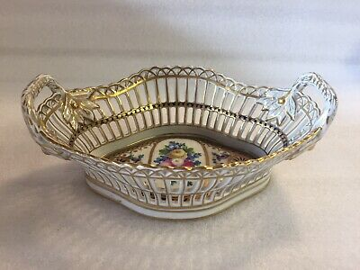 Dresden Carl Thieme Reticulated Hand Painted Large Basket  • 87£