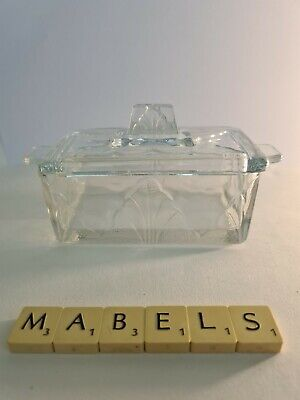 VINTAGE RETRO ~PRESSED GLASS - ART DECO STYLE~ Butter Dish • 14.99£