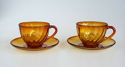 Vintage Set Of Two Amber Glass Cup & Saucers  France  • 10£