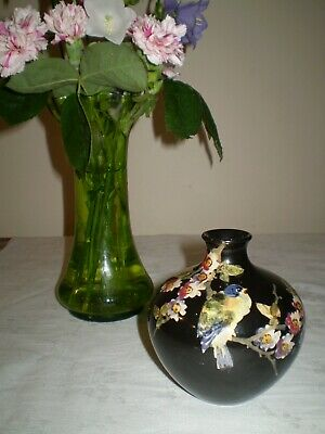 Bretby Art Pottery 'cloisonne' Vase Decorated  Blossom & Bird Small Vase • 45£