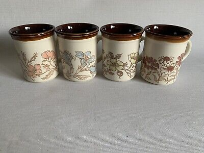 4 X Vintage Biltons Coffee Tea Mugs Cup Pink Blue Floral Flowers Made In England • 12.99£