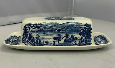 UNUSED BOXED Staffordshire Ironstone Liberty Blue Lafayette Covered Butter Dish  • 29.99£