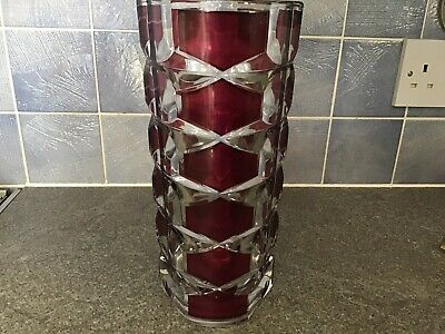 """Vintage Retro French Ruby Red / Clear Vase 9 1/2"""" Pre-owned • 7.50£"""