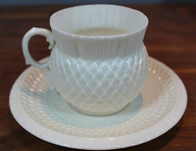 Irish Belleek 2nd Black Mark Thistle Cup And Saucer • 89£