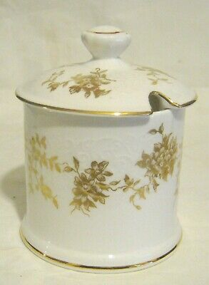 Lovely Crown Staffordshire Jam Pot With Gilded Decoration Floral Pattern 4 Ins  • 9.99£