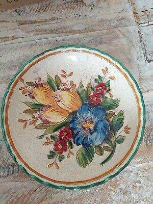 Vintage Continental Decorative Pottery Plate  Italy - Handmade Signed  • 14.99£