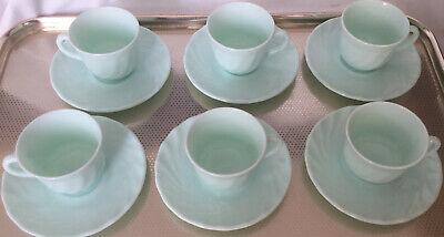 Vintage Arcopal French Glass Espresso Cups & Saucers  • 10£
