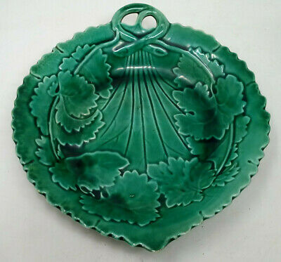 Green Leaf Majolica Plate Antique 19th Century • 12£