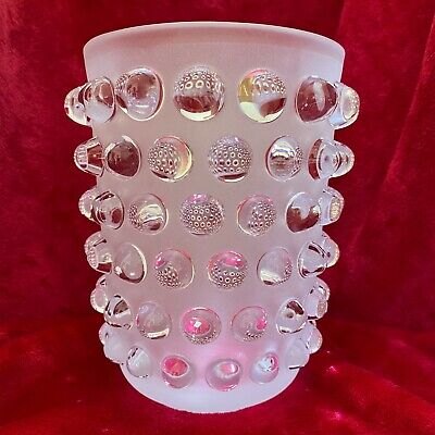"""Lalique """"Mossi"""" Clear & Frosted Glass Vase With Original Label And Box, Stunning • 1,250£"""