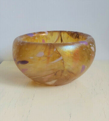 Unusual Thick Gold Iridescent Studio Glass Bowl With Spangle Glass Pattern • 25£