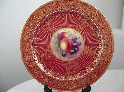 Royal Worcester Superb Jewelled Fruit Plate    Edward Townsend  1939 • 255£