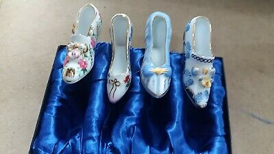 Set Of 4 Miniature Porcelain Shoes Boxed And Vgc • 4£