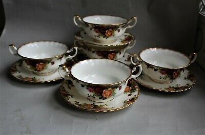 5 X Royal Albert Old Country Roses Soup Coupes & Saucers 1st Quality • 55.99£