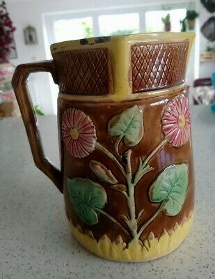 Antique Large Majolica Jug Pink Daisy Flower; Green Leaves & Yellow Grass / Hay  • 16£
