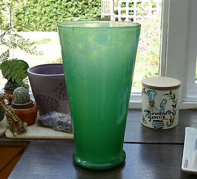 WHITEFRIARS GLASS Vase - Green Swirling CLOUDY Pattern - Art Deco 1930s • 85£