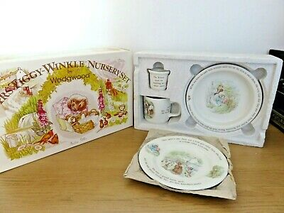 Vintage Beatrix Potter Mrs Tiggywinkle Childs 4 Piece Nursery Set In OriginalBox • 48£