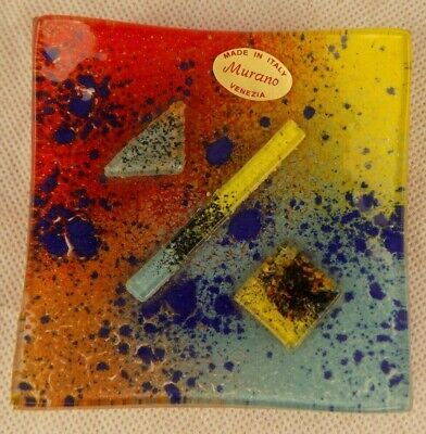 Murano Fused Glass Pin Dish. Labelled. • 12.50£