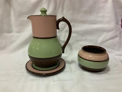 Vintage 1950s Sadler Coffee Pot, Stand And Sugar Bowl - Pink, Green And Brown  • 25£