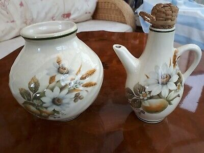Brixham Pottery 2 Pieces, Oil Jug And Bud Vase Floral In Very Good Condition  • 4£