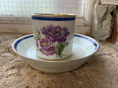 Early 19th Century Vienna Wien Austrian Coffee Can & Saucer Blue Gold Floral • 60£
