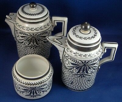 Antique 18thC Marseille French Porcelain 3 Pc. Set Pot Creamer Sugar Porcelaine • 232.90£