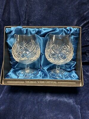 BOXED SET OF 2 THOMAS WEBB CUT GLASS CRYSTAL BALLOON BRANDY GLASSES Signed • 29.99£