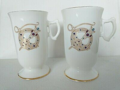 2 Royal Tara Irish Coffee Mugs Celtic Broach Galway Ireland  • 19.99£