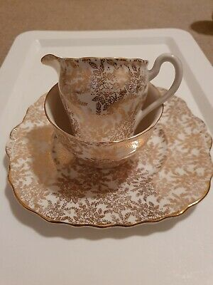 Royal Vale Vintage Gold Filagree Tea Set C. 1940 (Colcough China Ltd, Longton) • 33.25£