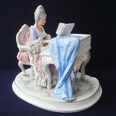 Large German Dresden Lace Figurine, Lady At Piano • 125£