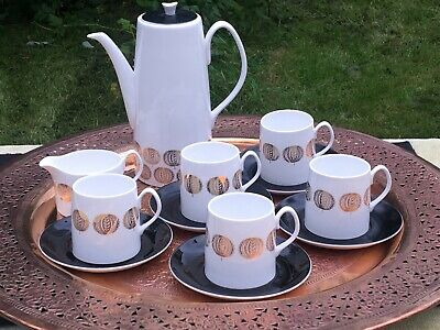Vintage Queen Anne China Coffee Set Hebe Retro Coffee Pot And Cups • 48£