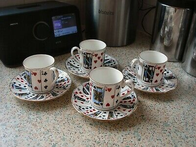 Queens China Cut For Coffee Playing Cards - 4 Expresso Cups & Saucers  • 18£