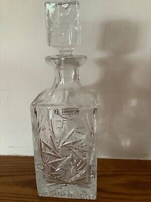 Immaculate Condition Genuine Zawiercie Hand Cut 24% Lead Crystal Decanter  • 4£