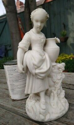 Fine Antique Parian / Bisque Figurine Or Statue Woman With Urn & Grapes • 28£