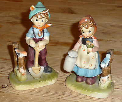 Beautiful Vintage 1930s Porcelain Figures Boy And Girl, Detailed • 17£