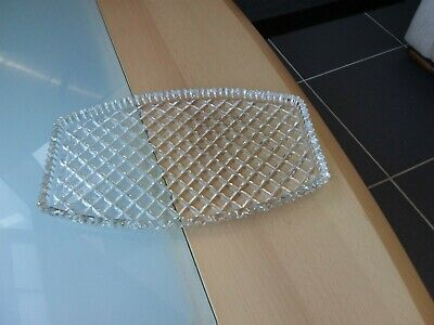 Vintage / Retro Decorative Clear Glass Serving Type Dish/ Dressing Table Tray • 6.99£