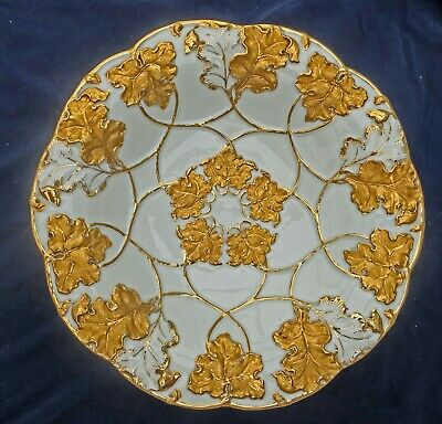 **STUNNING Gold ANTIQUE MEISSEN  Raised Leaves Porcelain Charger Plate German • 205£