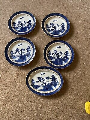 Booths Real Old Willow Set Of 4 Gilded Dinner Plates 10inch/25cm-  & 1 Oval 11in • 4.60£