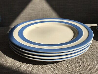 """TG Green Cornishware: 12"""" Dinner Plates X4 (one Of Two Sets) • 21£"""