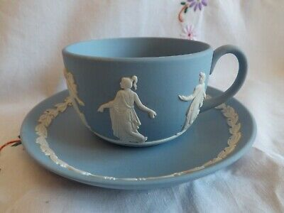 Stunning Wedgwood Blue Jasper Ware Grecian Design Collector Tea Cup And Saucer • 28.83£
