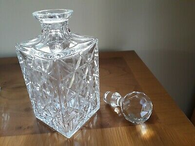 Cut Glass Crystal, Square, Whisky Decanter • 10£
