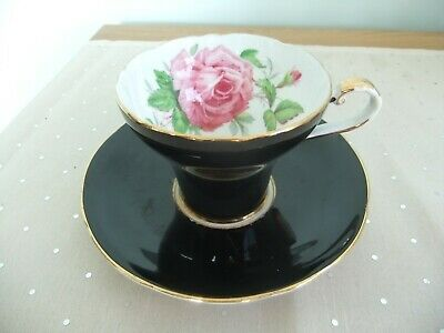 Aynsley Black Cup & Saucer With Rose Inside Cup • 6.50£