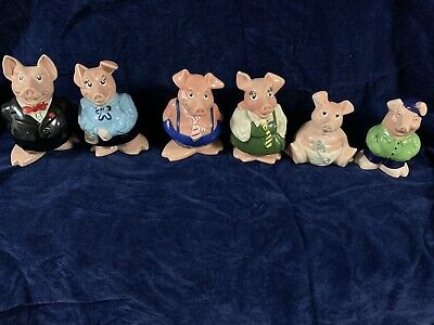 Full Set 6 Wade Nat West Pigs & Genuine Cousin Wesley Money Boxes+Orig Stoppers  • 300£