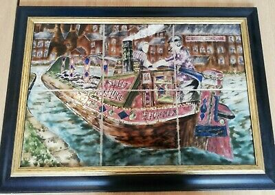 Cobridge Stoneware Phoenix Canal Barge Framed 6 Tile  • 599.99£