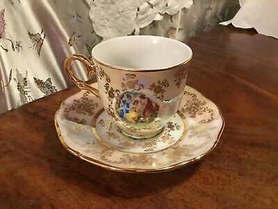 Vintage Pearlescent White & Gold Hand Detailed Tea Cup & Saucer Czech Republic • 1.99£