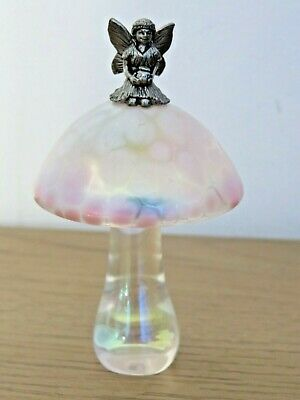 Collectible Heron Pink Art Glass Iridescent Toadstool Ornament With Pewter Fairy • 25£